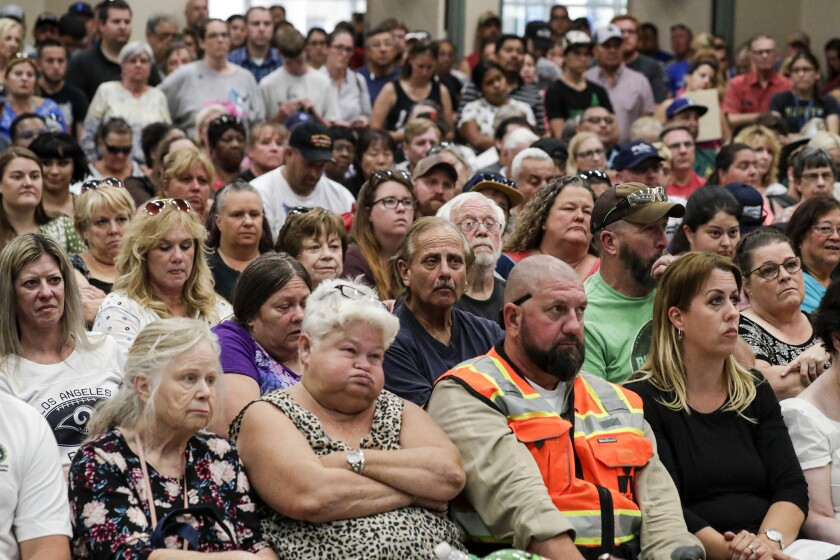 Residents of Ridgecrest and surrounding communities attend a town hall meeting following two big earthquakes in the area.