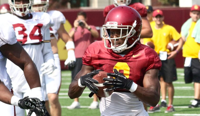 USC's Adoree' Jackson takes part in practice as a receiver on Aug. 19.