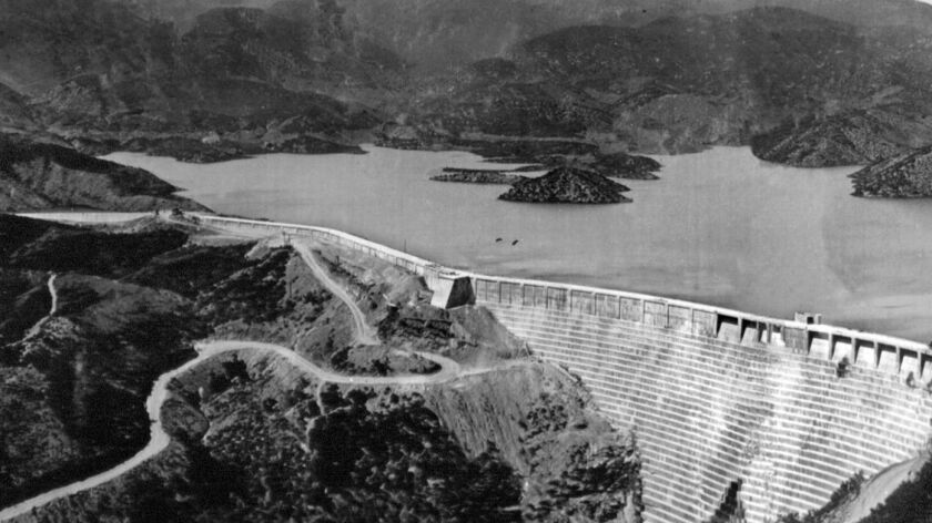The St. Francis Dam before its collapse. This photo was published in the Los Angeles Times on Mar. 14, 1928.