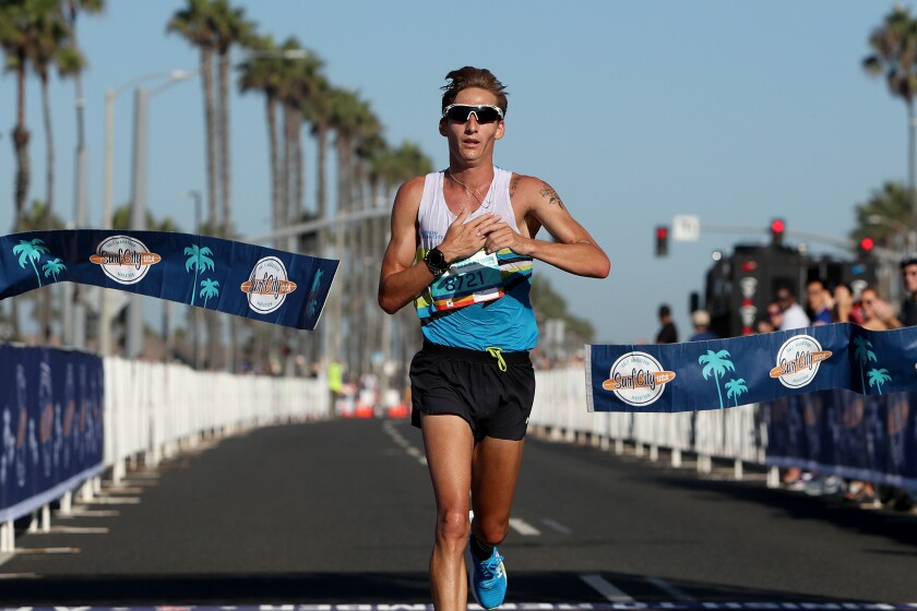Sid Vaughn is the first man half-marathon runner to  finish.