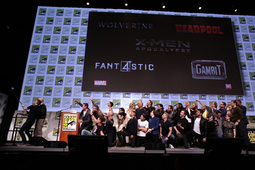 "The cast and crew of ""X-Men: Days of Future Past"" at the 20th Century Fox presentation at Comic-Con 2015 in San Diego."
