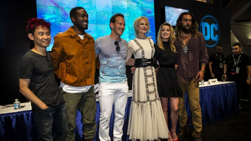 SAN DIEGO, CALIF. - JULY 21: The cast of Aquaman, (L to R) Director James Wan, and actors Yahya Abdu