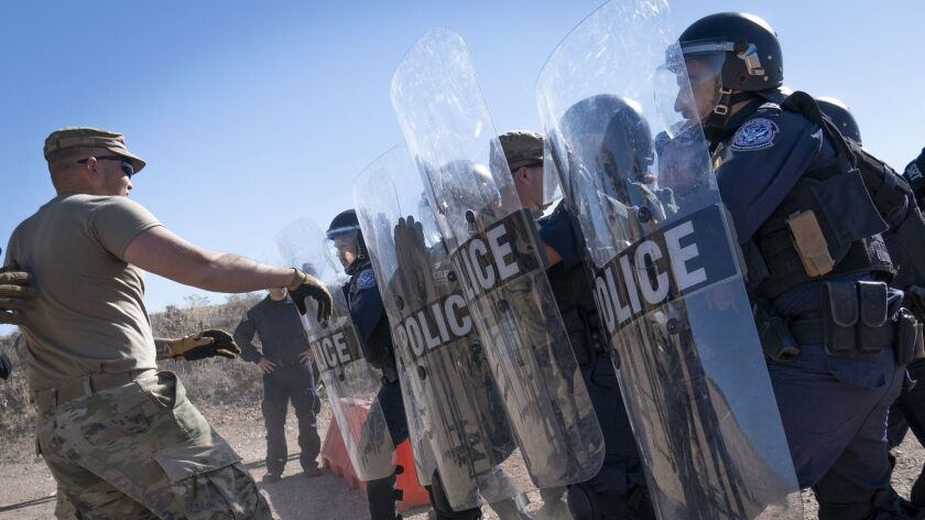 U.S. Army Soldiers train with Customs and Border Protection agents Dec. 13 in Douglas, Arizona.