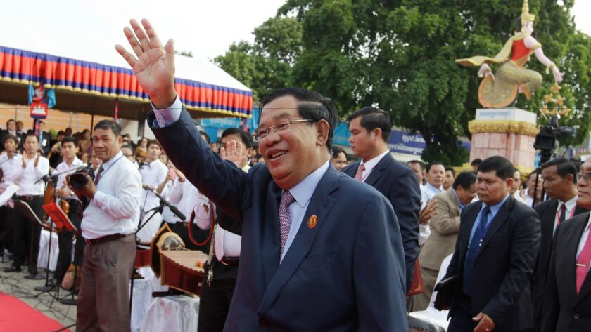 Cambodian Prime Minister Hun Sen, a frequent target of Kem Ley's criticism, at an event in Phnom Penh on Jan. 7, 2017. marking the anniversary of the 1979 downfall of the Khmer Rouge regime.