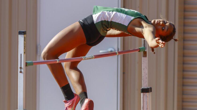 Coronado's Alysah Hickey (shown earlier in the season) is seeking a state title in the high jump.