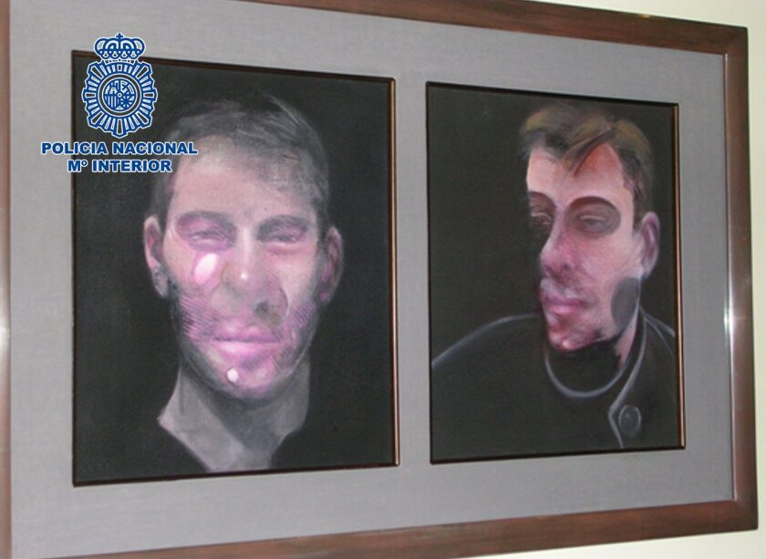 In this photo released by the Spanish Interior Ministry on Saturday, May 28, 2016, one the five paintings by the Irish-born painter Francis Bacon recovered by the Spanish Police, is displayed. Spanish police say they have arrested seven people suspected of involvement in stealing five paintings by