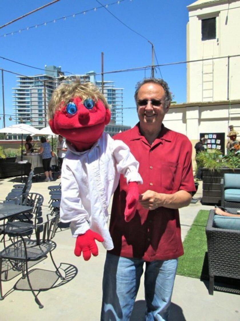 La Jolla puppeteer Mark Zweifach with Hondo. Photo Lonnie Burstein Hewitt