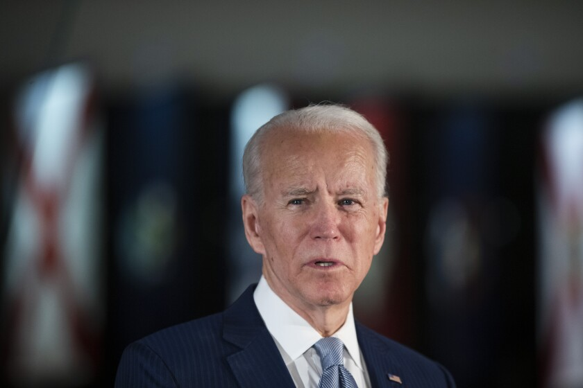 Joe Biden speaks to reporters at the National Constitution Center in Philadelphia on March 10.