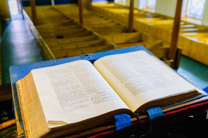 A bible sits open on the altar of a Presbyterian church in Northern Ireland