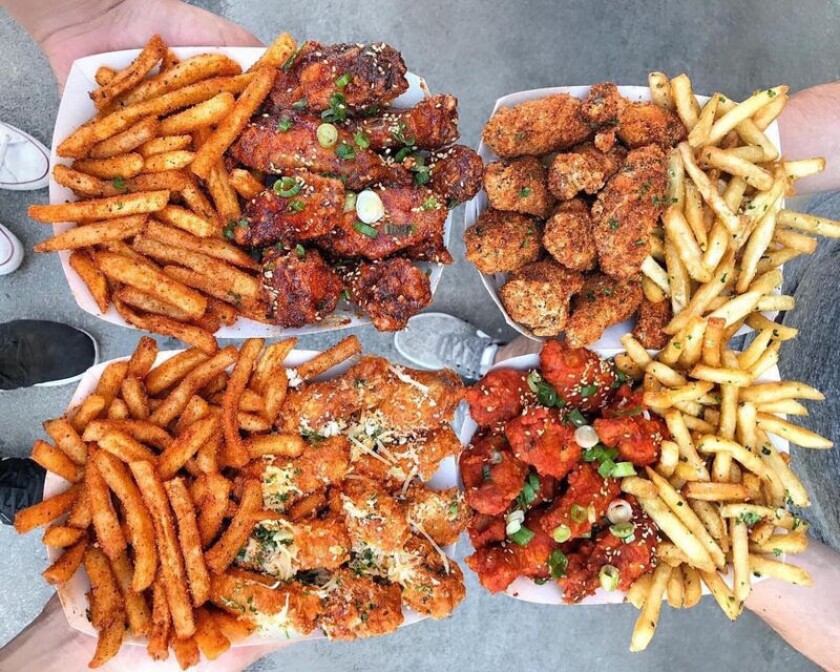 Wings and fries at Belly Bombz