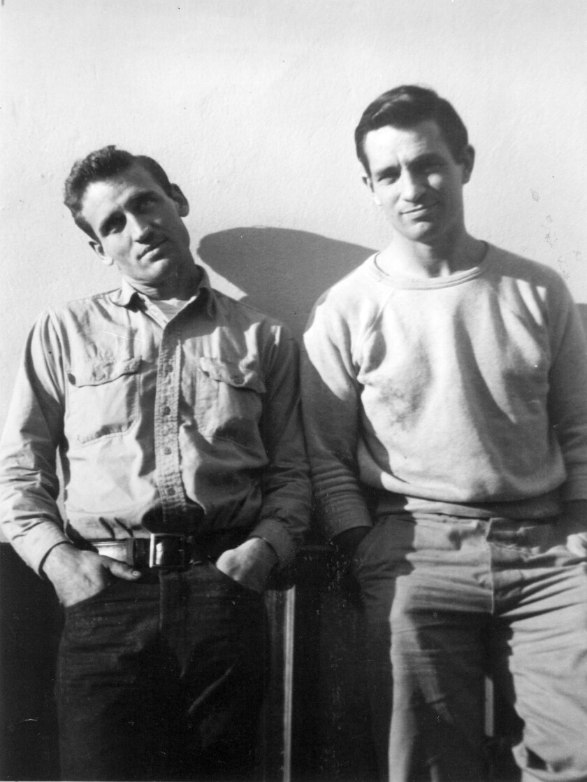 """Jack Kerouac, right, with Neal Cassady, the inspiration for many of Kerouac's books, including the 1957 """"On the Road,"""" a book that is not entering the public domain this year thanks to changes in U.S. copyright law."""
