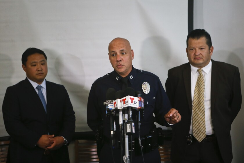 LAPD officers discuss a recent arrest in the killing of 31-year-old Daniel Felix that took place 16 years ago.