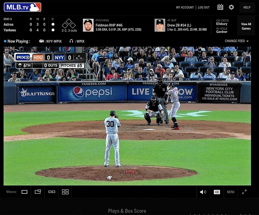 Customers pay as much as $129.99 per season for MLB.tv, which enables users to stream live broadcasts of out-of-market games.