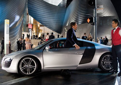"""This summer, Robert Downey Jr.'s """"Iron Man"""" alter ego, Tony Stark, drives a sleek Audi R8 sportscar. Audi had signed on to spend big bucks promoting the movie with advertising and a web site -- not to mention lending the production a lot of cars (including two R8s that were wrecked)."""