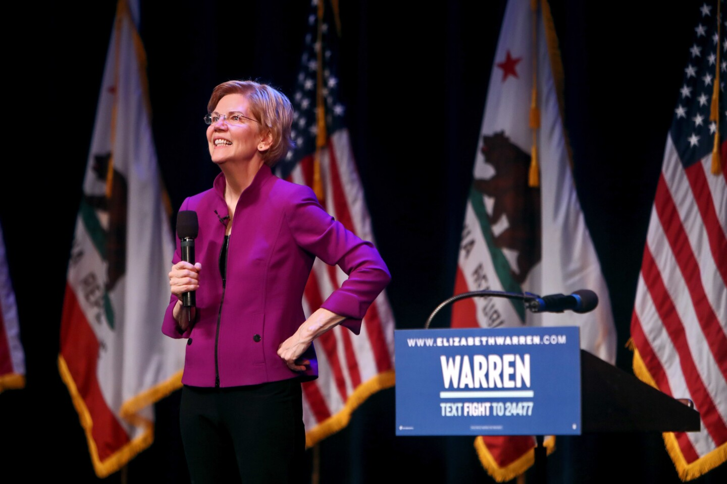 Photo Gallery: Senator and democratic presidential candidate Elizabeth Warren speaks at the Alex Theater