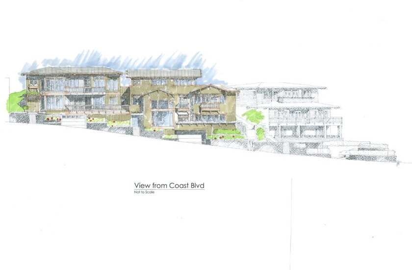 Rendering of town homes to be developed on Coast Boulevard, named the East-Cliff, Gables and Jack O' Lantern, in homage to three Green Dragon Colony cottages that once stood there.