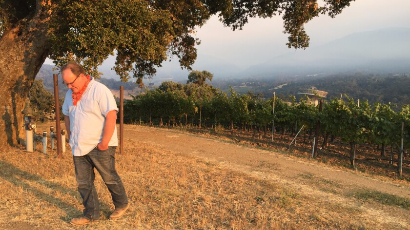 In Carmel Valley off Cachagua Road, Matt Shea, the vineyard manager for Bernardus Winery, has stayed to defend his grapes -- and his home -- from the Soberanes fire, which is not expected to be contained until Aug. 31.