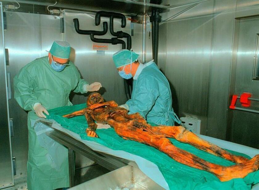 El análisis de las herramientas de Ötzi, la momia más estudiada del mundo, reveló que este hombre que vivió hace 5.300 años era diestro y que mantuvo contactos culturales a larga distancia, entre otros detalles, según un estudio publicado hoy en la revista especializada PLOS. EFE/ARCHIVO