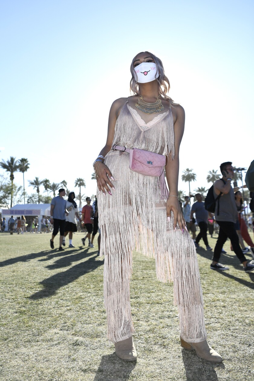 INDIO, CA-April 13, 2019: Glendale resident Olivia Leones during day 2 at the Coachella Music Festi