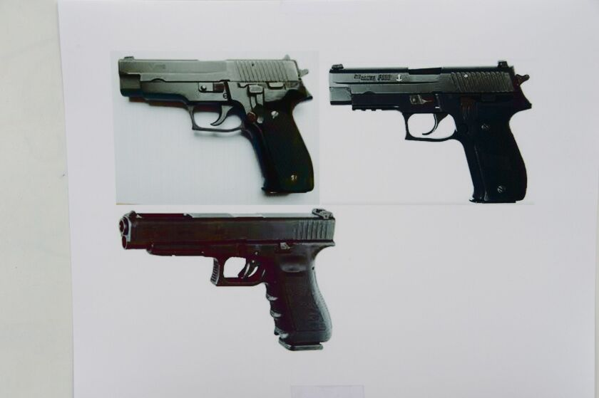 Handguns, similar to the ones used by Elliot Rodger in the Isla Vista attacks, are shown.