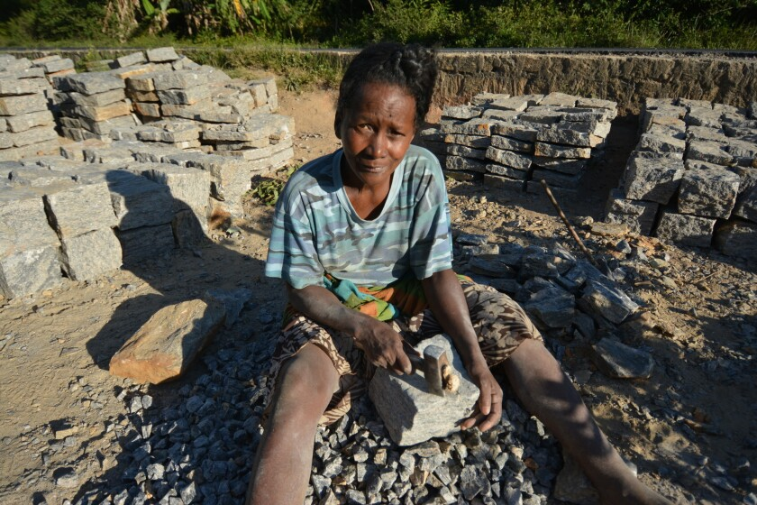"""The more protected the forest is, the harder life has become,"" says Madeleine, 59, who like many here has one name. After the government protected the local forest, she can't cut trees to burn charcoal, so all day she breaks rocks to make gravel."