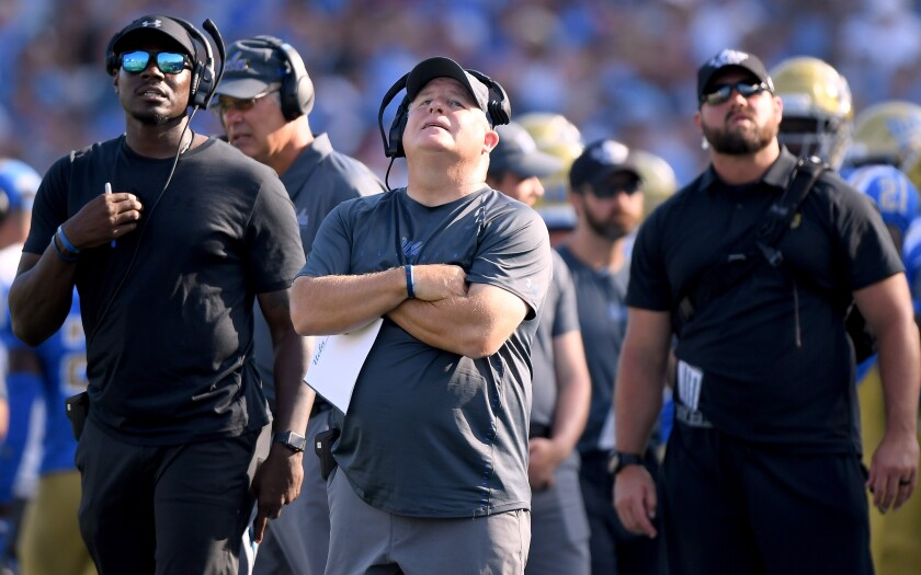 UCLA coach Chip Kelly reacts during a game against Cincinnati in September 2018.