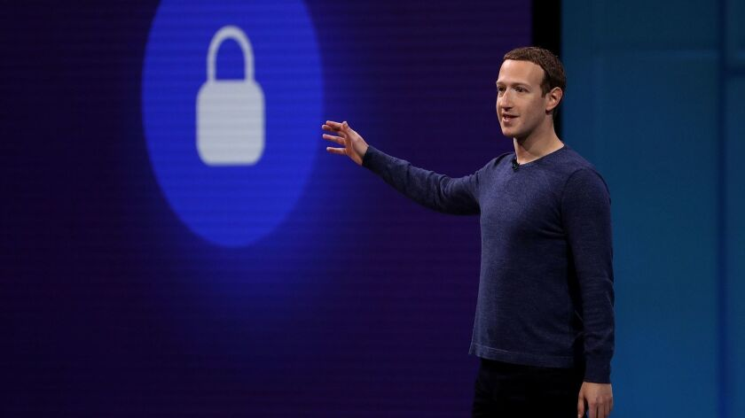 """This file photo taken on May 1, 2018 shows Facebook CEO Mark Zuckerberg speaking during the F8 Facebook Developers conference in San Jose, California. - Facebook unveiled on June 18, 2019 its global crypto-currency """"Libra,"""" in a new initiative in payments for the world's biggest social network with the potential to bring crypto-money out of the shadows and into the mainstream."""