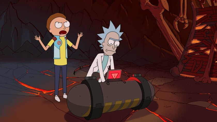 """Morty, left, and his grandfather Rick (voiced by creator Justin Roiland) go on epic adventures in """"Rick and Morty"""" Season 3 on Adult Swim."""