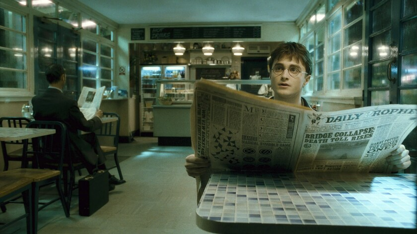 """Daniel Radcliffe as Harry Potter in """"Harry Potter and the Half–Blood Prince."""""""