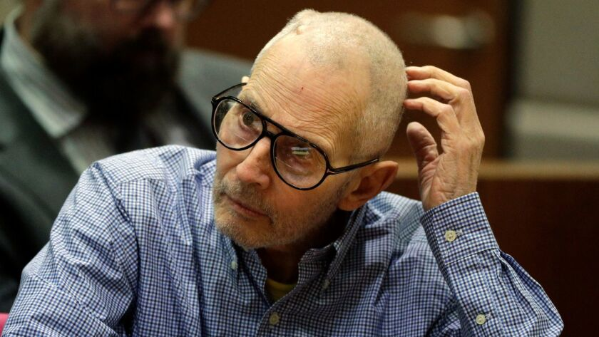 New York real estate scion Robert Durst appears in the Airport Branch courthouse in Los Angeles for a hearing Wednesday. Durst is accused in the December 2000 fatal shooting of his friend, Susan Berman, in her Benedict Canyon home. He has pleaded not guilty.