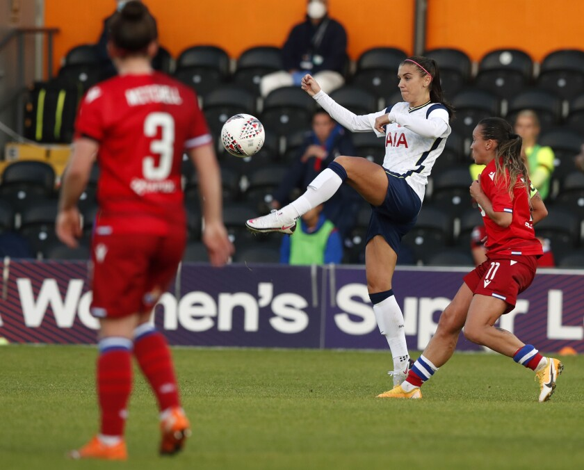 Tottenham Hotspur's Alex Morgan tries to control the ball in a match against Reading on Nov. 7 in London.