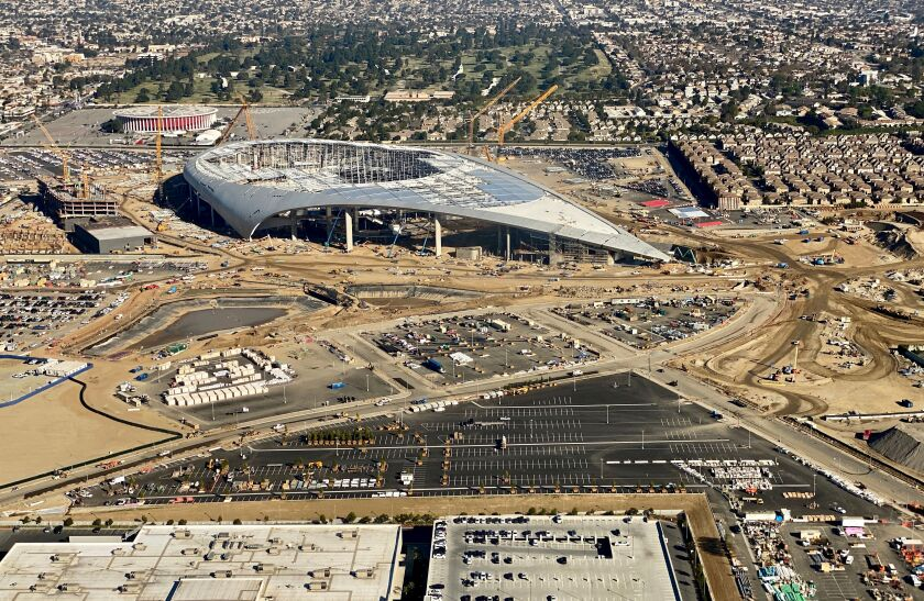 Aerial view of the still-under-construction SoFi Stadium, future home of the Rams and Chargers, in Inglewood, on Feb. 6, 2020.