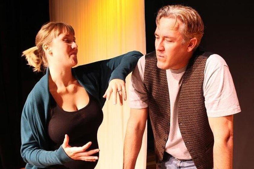 """Moxie Theatre is producing """"Expecting Isabel,"""" a stage comedy about infertility. So naturally, its director, Jen Thorn, is -- 8 months pregnant. She is seen here directing Stephen Elton as they prepare for the opening."""