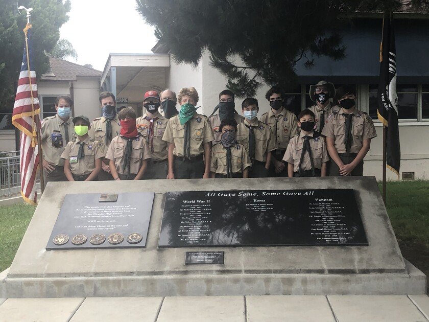 Solana Beach Boy Scout Troop 782 at the San Dieguito Academy Veterans' Memorial