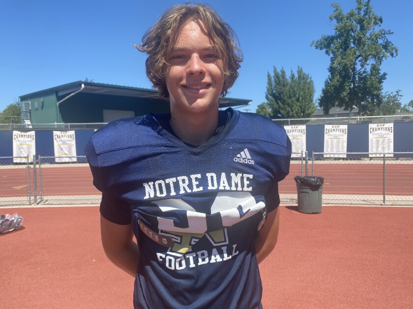 Kicker Zachary May of Sherman Oaks Notre Dame has plans to be a journalist.