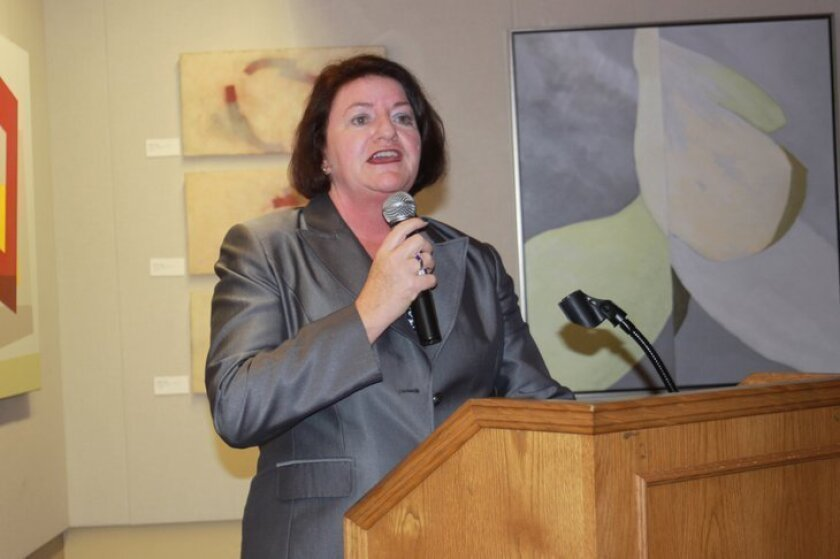 California Assembly Speaker Toni Atkins addresses a crowd earlier this month at La Jolla Library.