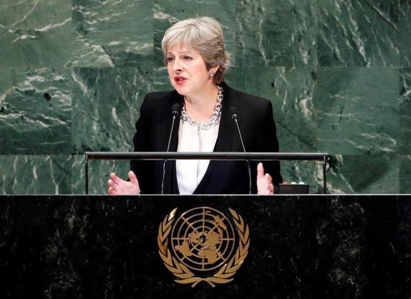 """La primera ministra del Reino Unido, Theresa May, pidió hoy en la Asamblea General de la ONU una """"cooperación global entre países fuertes y responsables"""" para luchar contra el creciente autoritarismo y nacionalismo agresivo. EFE"""