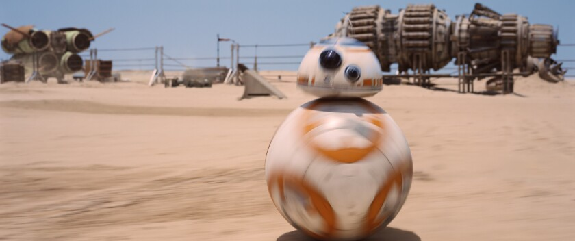"""This image released by Disney shows a scene from """"Star Wars: Episode VII - The Force Awakens."""""""