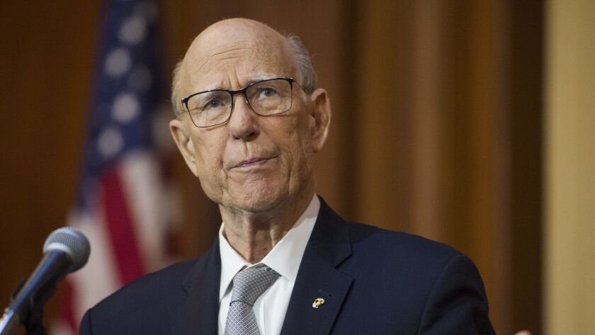 FILE - In this Dec. 11, 2018 file photo, Senate Agriculture Committe Chairman Pat Roberts, R-Kansas,
