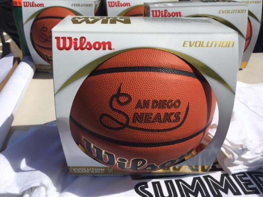 San Diego Sneaks basketballs are awarded to tournament winners.