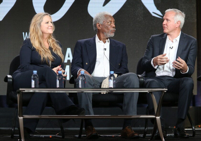 Lori McCreary, Morgan Freeman and James Younger speak at at the Television Critics Association Press Tour on Jan. 6, 2016.