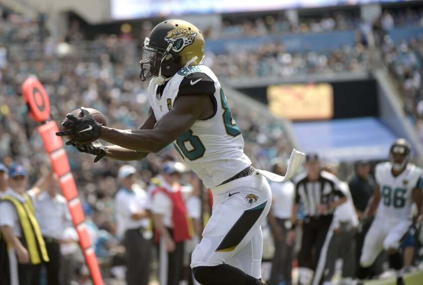 FILE - In this Sept. 13, 2015, file photo, Jacksonville Jaguars wide receiver Allen Hurns (catches a pass near the goal line during an NFL football game against the Carolina Panthers in Jacksonville, Fla. A person familiar with the process says Hurns has signed a four-year contract extension worth