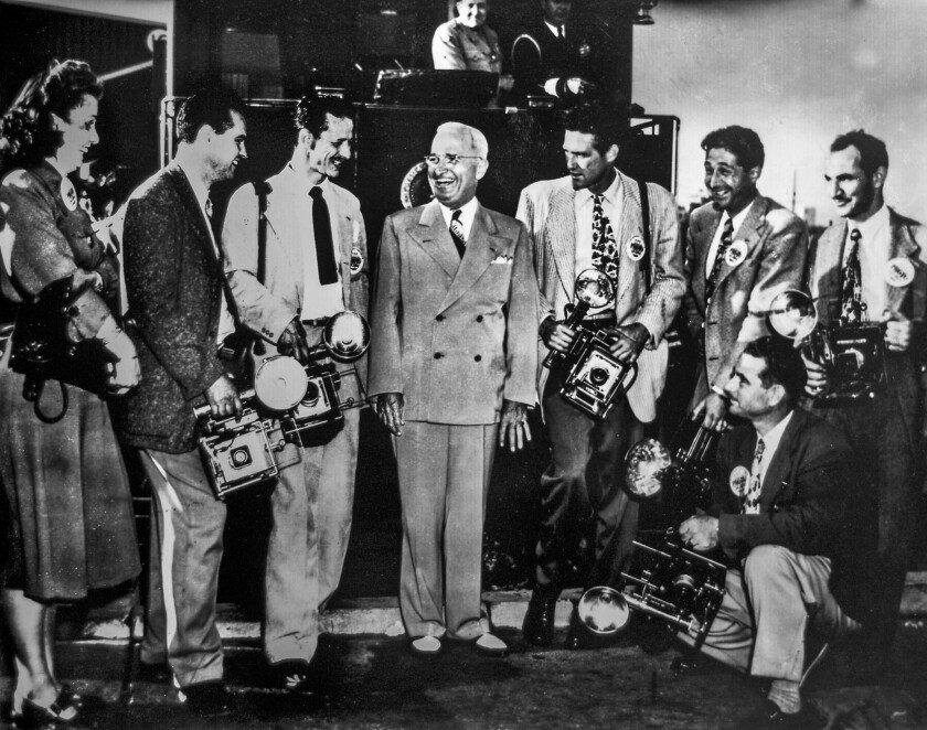 June 14, 1948: President Truman poses with Speed Graphic-equipped Los Angeles photographers at Union