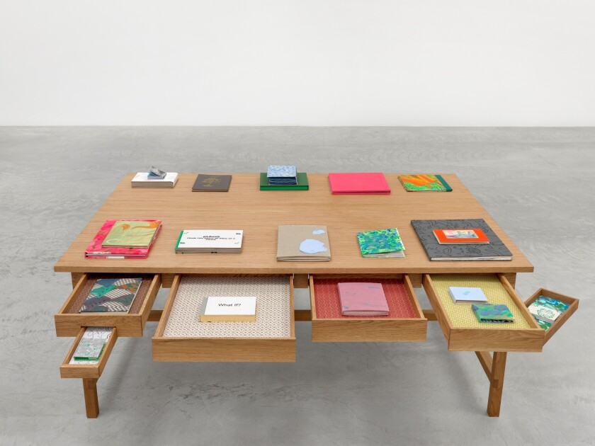 "Part of Laura Owens' installation ""Books and Tables"" at Matthew Marks Gallery in Los Angeles."