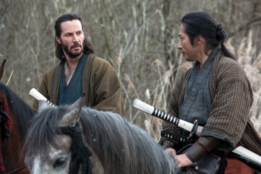 """Keanu Reeves, left, and Hiroyuki Sanada in a scene from """"47 Ronin."""""""