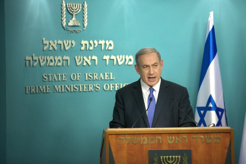 FILE - In this Tuesday, July 14, 2015 file photo, Israeli Prime Minister Benjamin Netanyahu speaks during a news conference at his Jerusalem office. On course to become the longest serving prime minister in Israeli history, Netanyahu's legacy has not been marked so far by bold measures of war and peace that defined his predecessors. But the hallmark mission of his professional career, keeping Iran from attaining a nuclear weapon, is seen as having taken a big hit with last week's U.S.-led nuclear deal. (AP Photo/Oren Ben Hakoon, File)