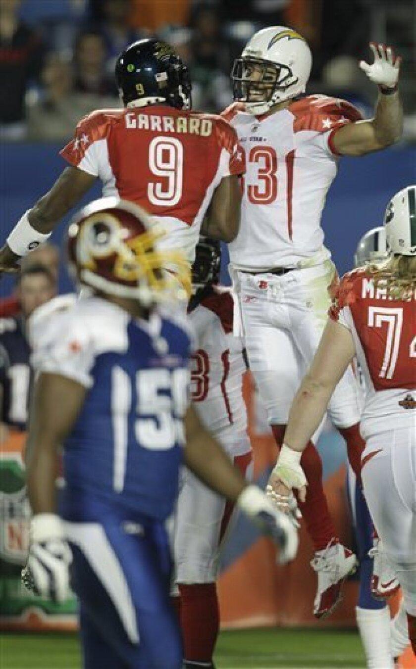 San Diego Chargers wide receiver Vincent Jackson (83) and Jacksonville Jaguars quarterback David Garrard (9) celebrate during the NFL football Pro Bowl Sunday, Jan. 31, 2010, in Miami. (AP Photo/David J. Phillip)