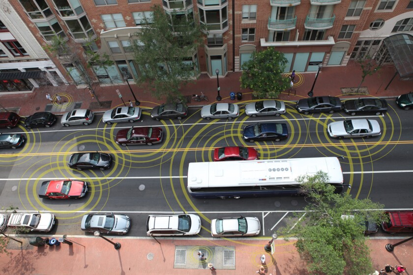 Morgan Stanley analysts Ravi Shanker and Adam Jonas estimate vehicle-to-vehicle communications could save the nation billions of dollars in traffic collision expenses.