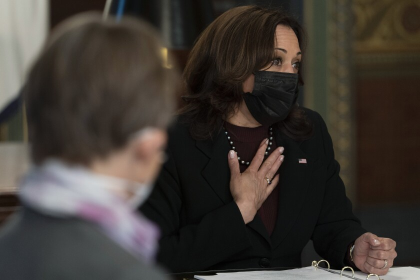 Vice President Kamala Harris meets with faith leaders at the White House complex on Wednesday.