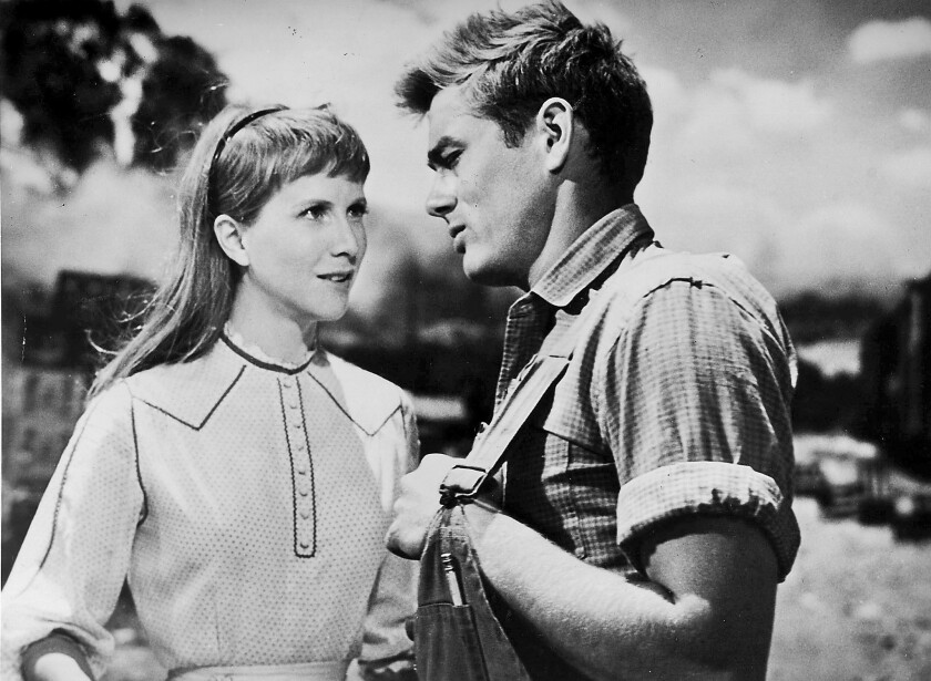 """Julie Harris with James Dean in the 1954 movie """"East of Eden."""""""